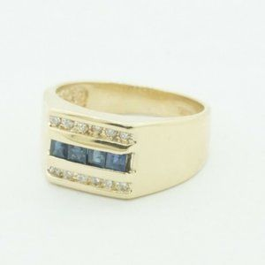 14K Yellow Gold Ring with Diamonds and Saphire